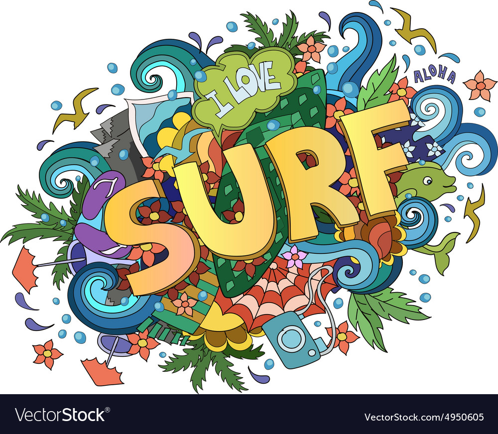 Surf lettering design handdrawn tshirt vector