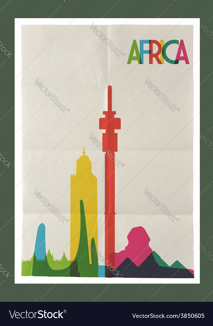 Travel africa landmarks skyline vintage poster vector | Price: 1 Credit (USD $1)