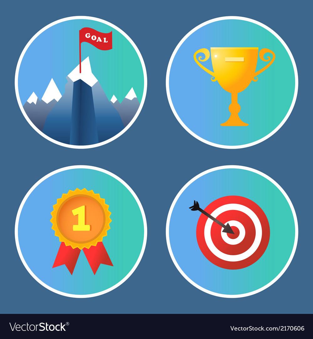Achievement icons set vector | Price: 1 Credit (USD $1)
