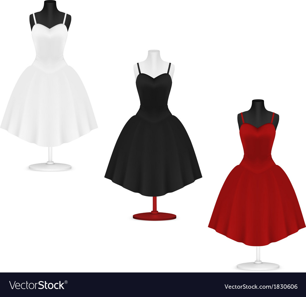 Classic womens plain dress template vector | Price: 1 Credit (USD $1)
