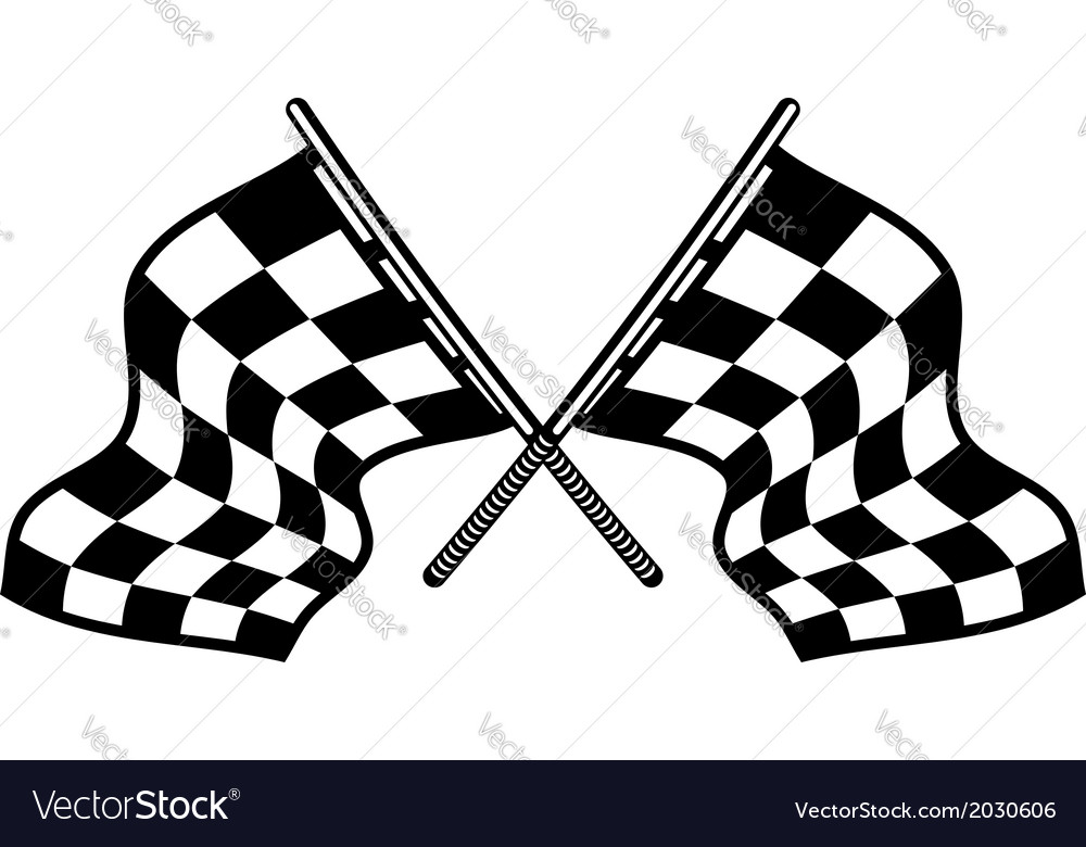 Crossed motor sport flags vector | Price: 1 Credit (USD $1)