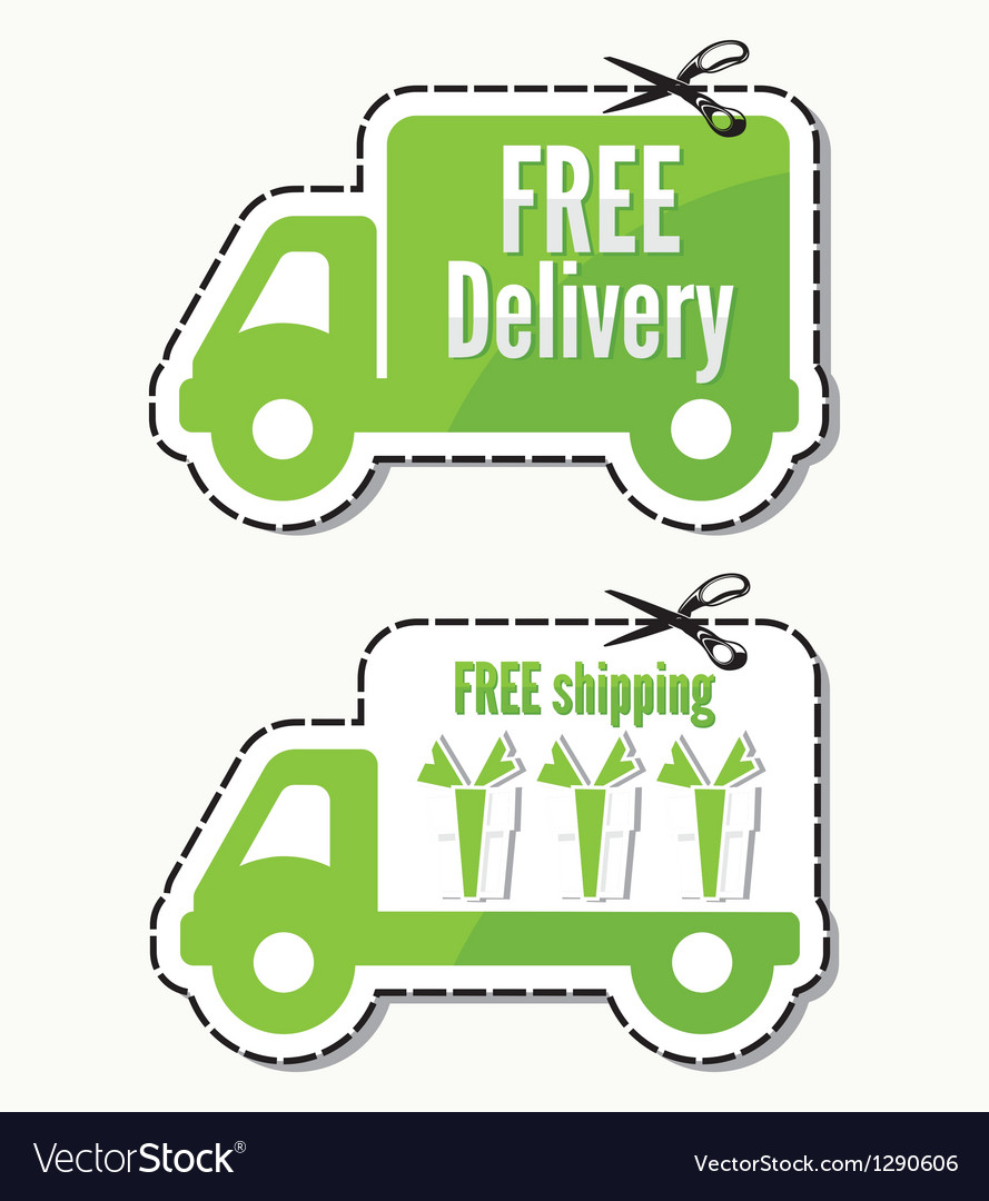 Free delivery free shipping labels vector | Price: 1 Credit (USD $1)
