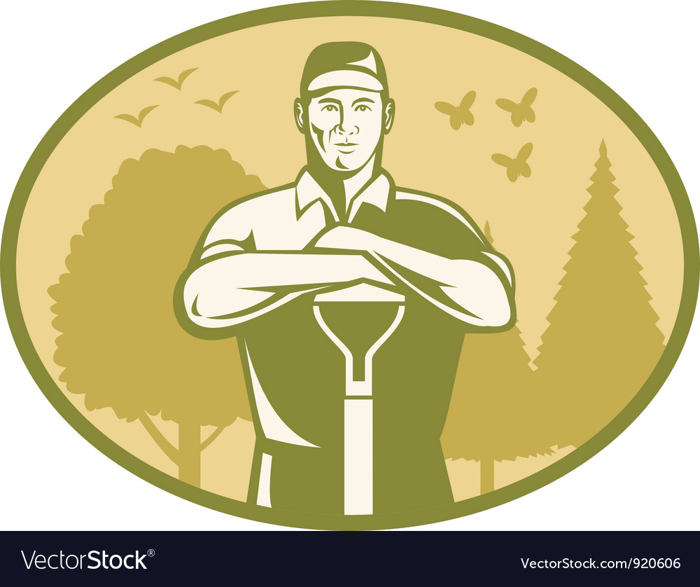 Gardener landscaper farmer retro vector | Price: 3 Credit (USD $3)
