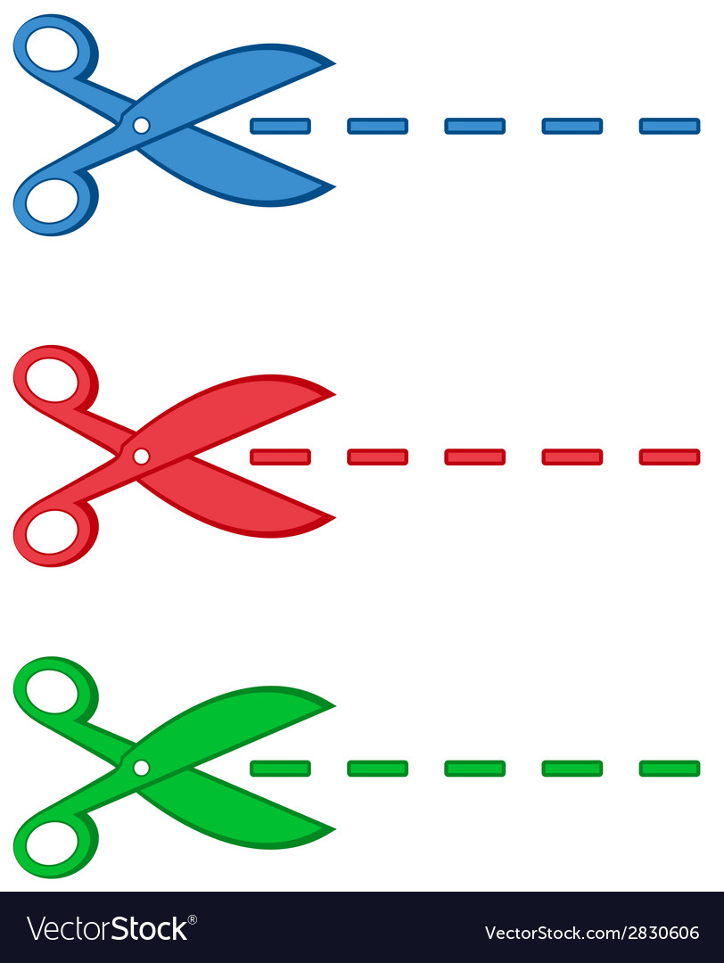 Isolated colorful scissors and dotted line vector | Price: 1 Credit (USD $1)