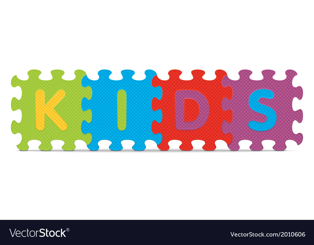 Kids written with alphabet puzzle vector | Price: 1 Credit (USD $1)