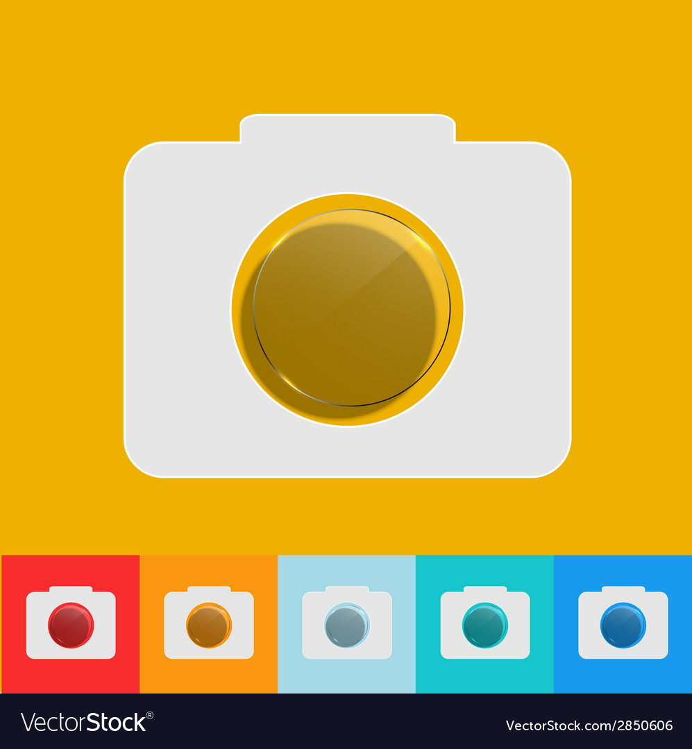 Modern camera icon with circle glass set vector | Price: 1 Credit (USD $1)