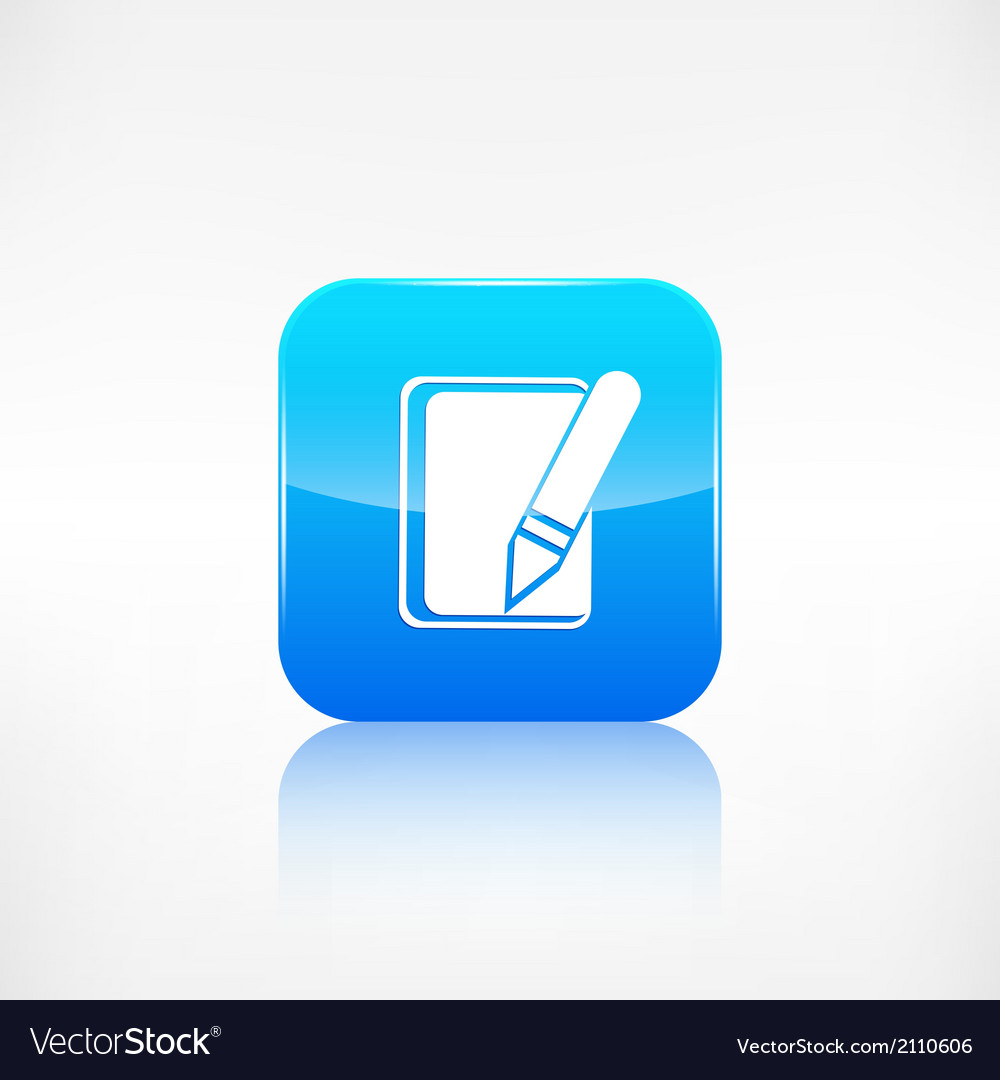 Notepad with pencil icon application button vector | Price: 1 Credit (USD $1)