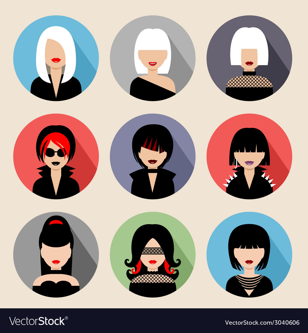 Set of circle flat icons with women vector | Price: 1 Credit (USD $1)