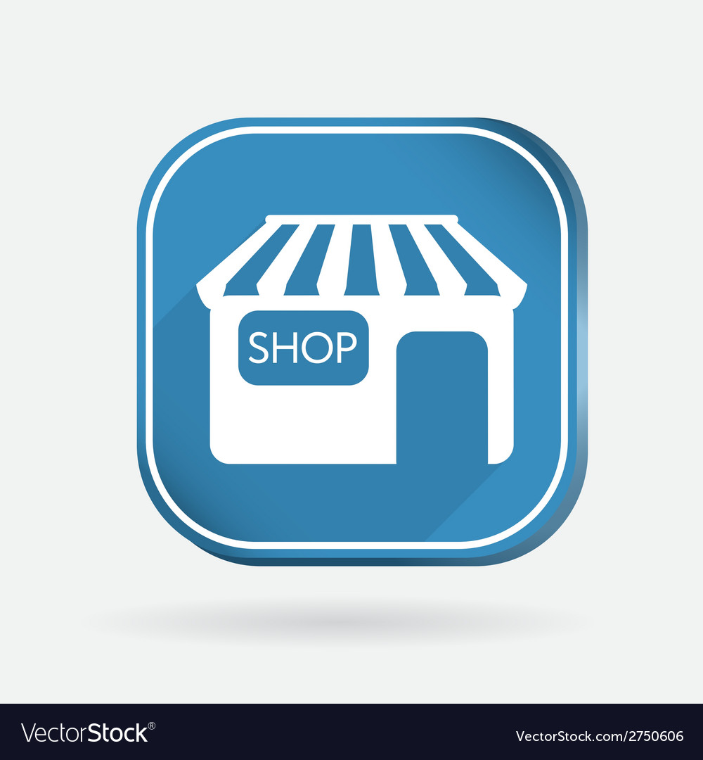 Shop building color square icon vector | Price: 1 Credit (USD $1)