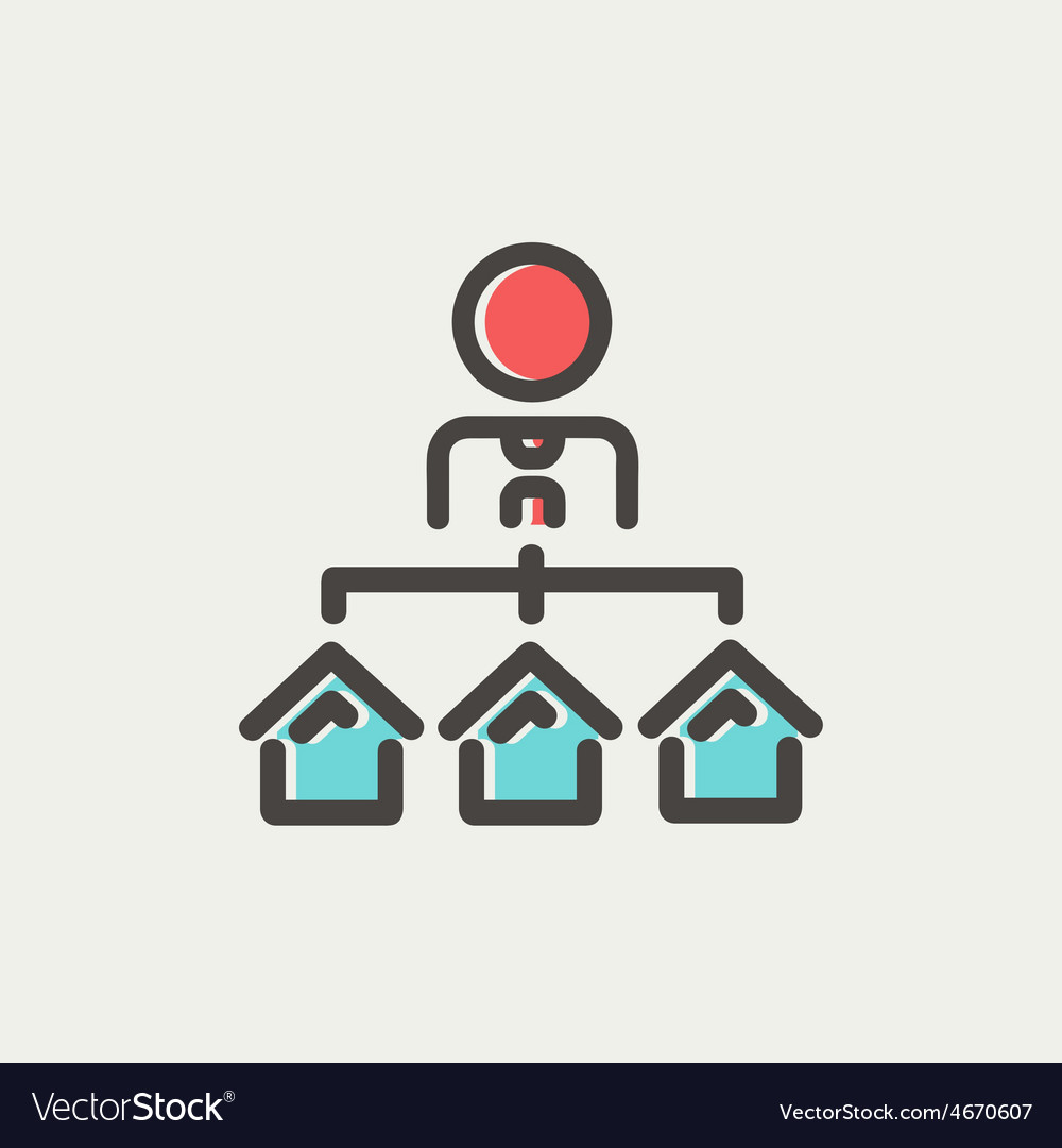 Agent with three houses for sale thin line icon vector | Price: 1 Credit (USD $1)