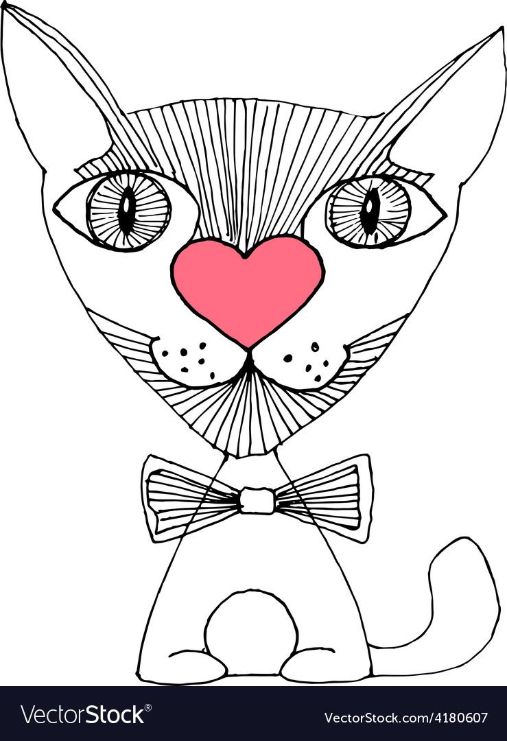 Cat love sketch vector   Price: 1 Credit (USD $1)