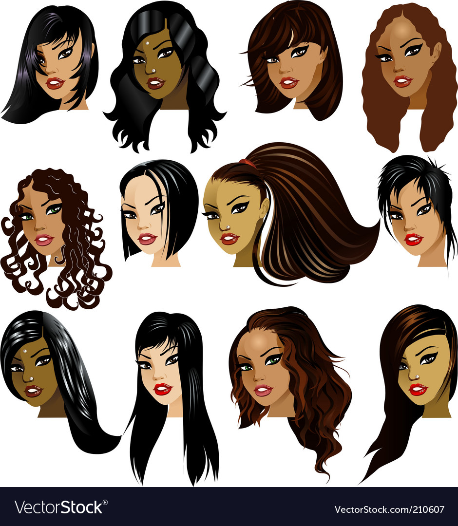 Female faces vector | Price: 3 Credit (USD $3)