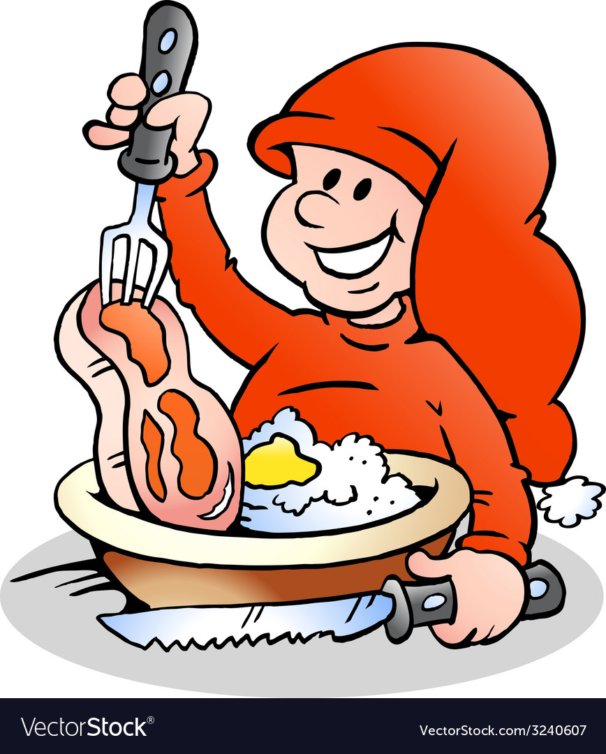 Hand-drawn of an happy christmas elf cooking vector | Price: 1 Credit (USD $1)