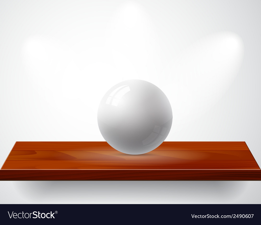 Isolated empty shelf for exhibit with gray ball vector | Price: 1 Credit (USD $1)