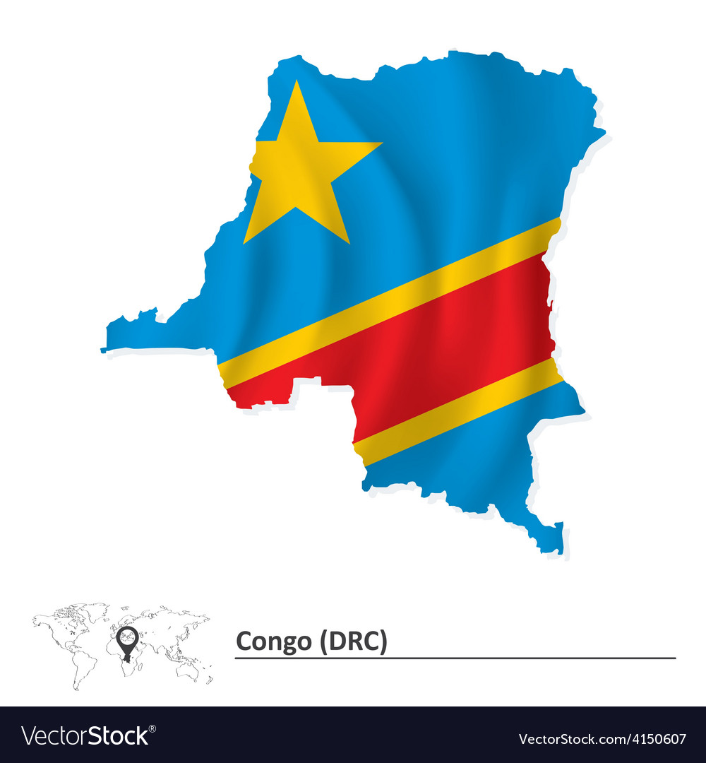 Map of democratic republic of the congo with flag vector | Price: 1 Credit (USD $1)