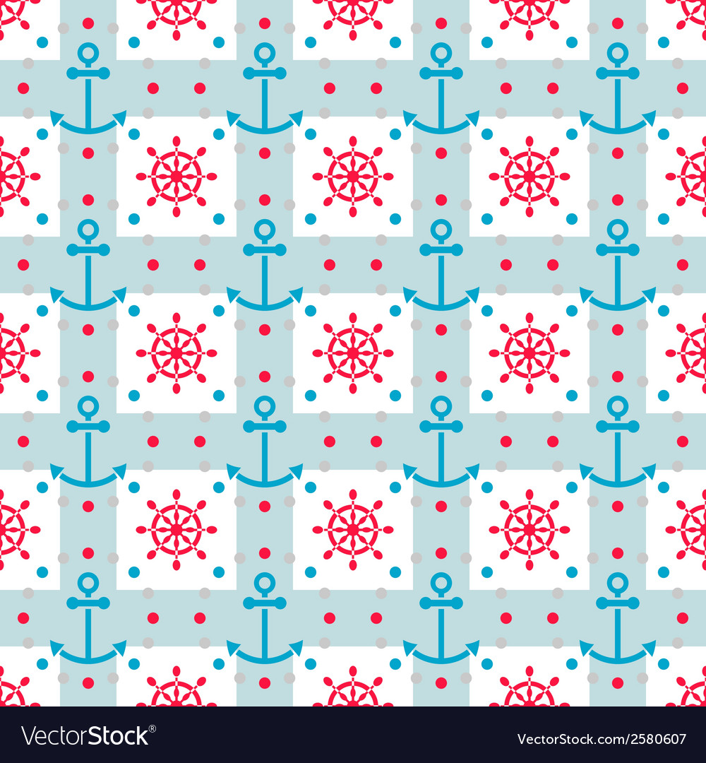 Seamless sea pattern with anchors hand wheels vector | Price: 1 Credit (USD $1)