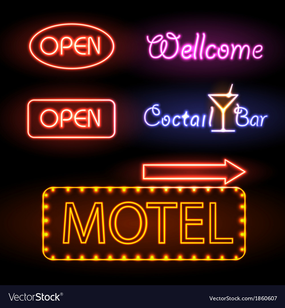 Set of neon sign vector | Price: 1 Credit (USD $1)