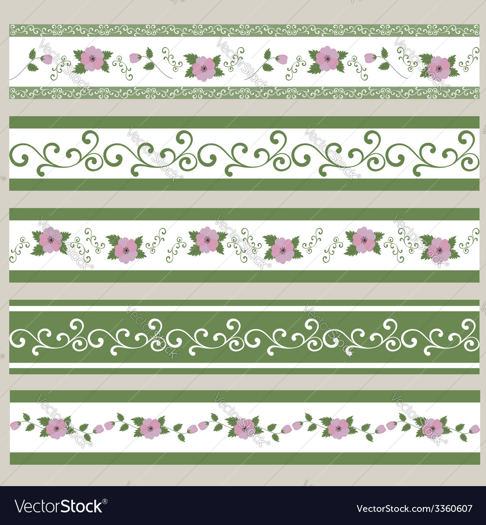 Set of ribbons abstract floral pattern vector | Price: 1 Credit (USD $1)