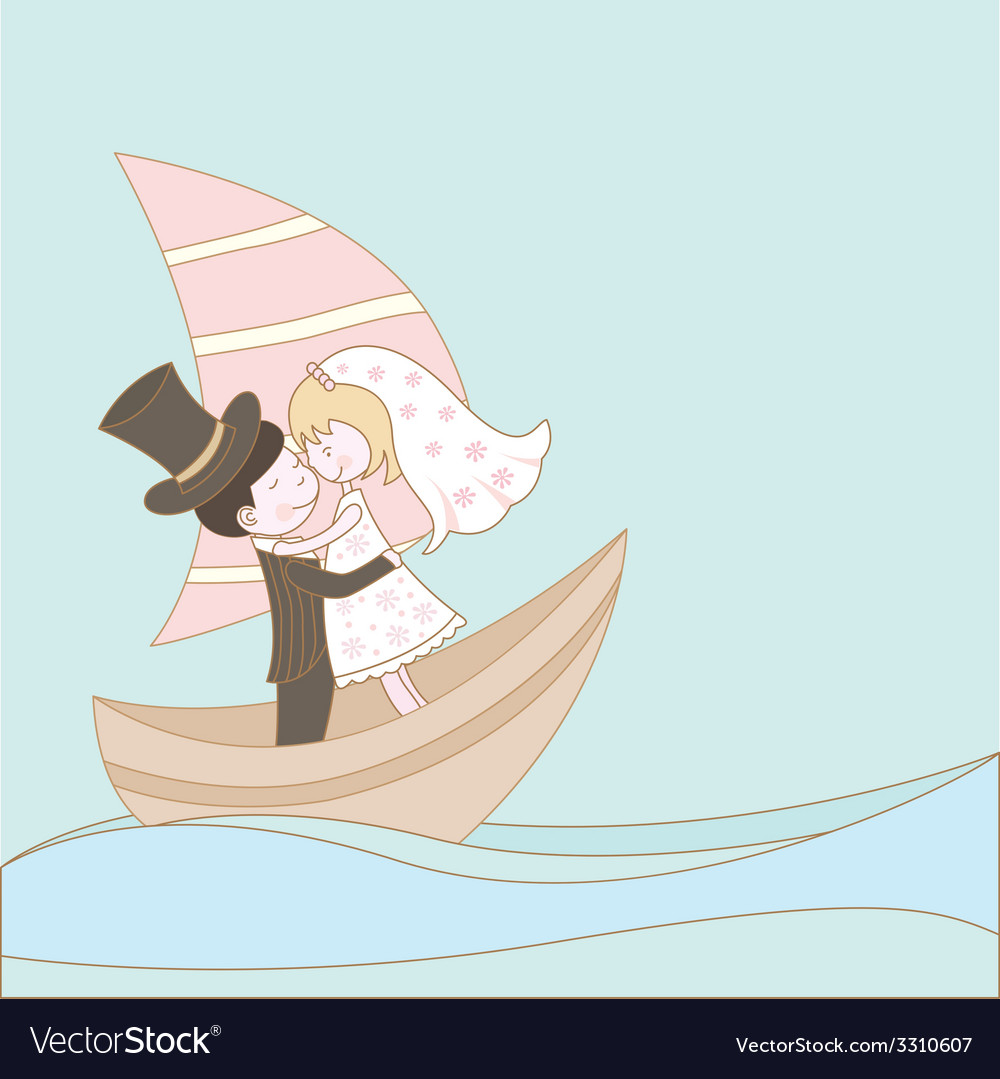 Wedding couple on the ship vector | Price: 1 Credit (USD $1)