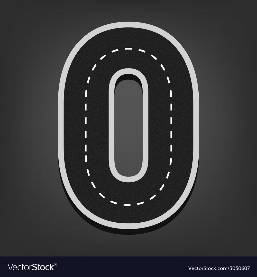 Zero number road font vector | Price: 1 Credit (USD $1)