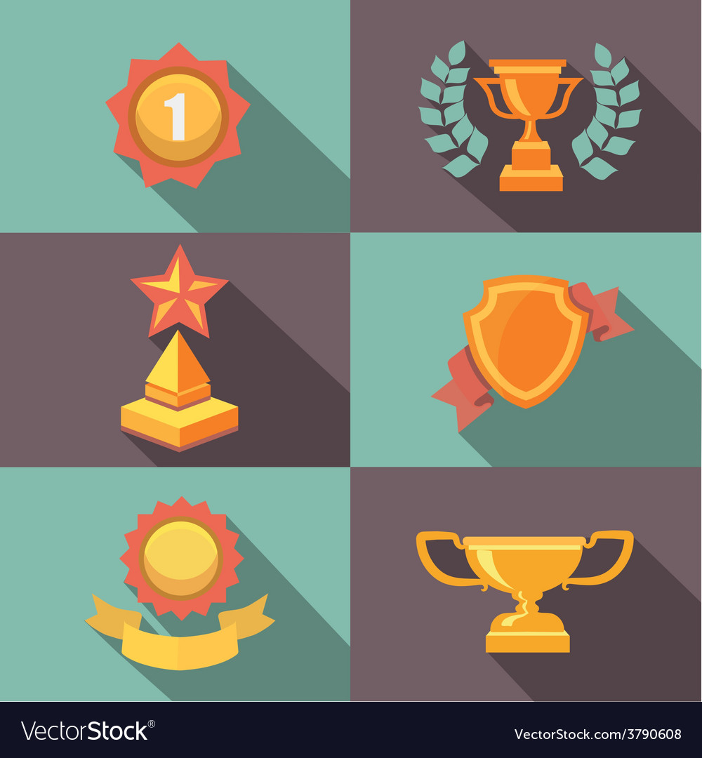 Awards and trophy icons flat vector | Price: 1 Credit (USD $1)