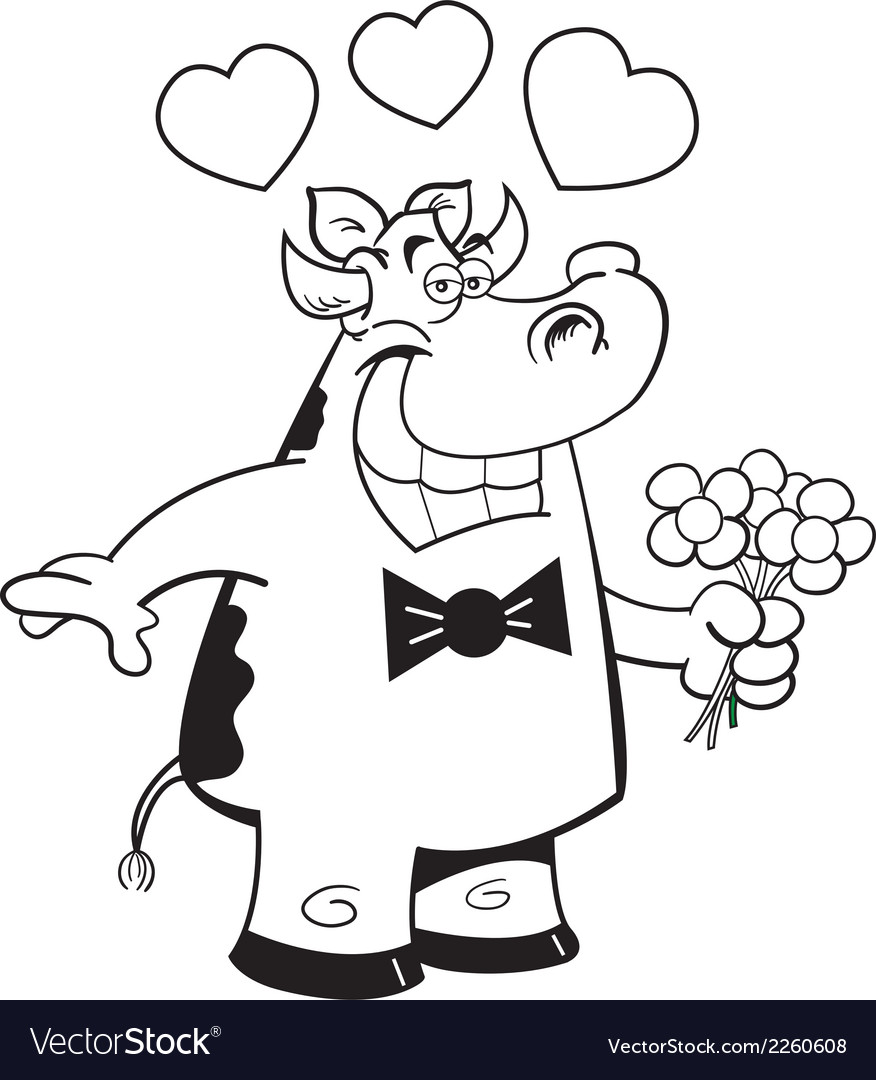 Cartoon cow holding flowers vector | Price: 1 Credit (USD $1)