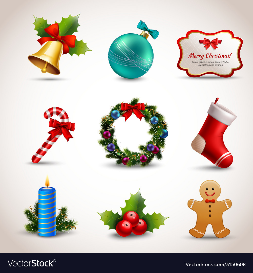 Christmas icons set vector   Price: 1 Credit (USD $1)