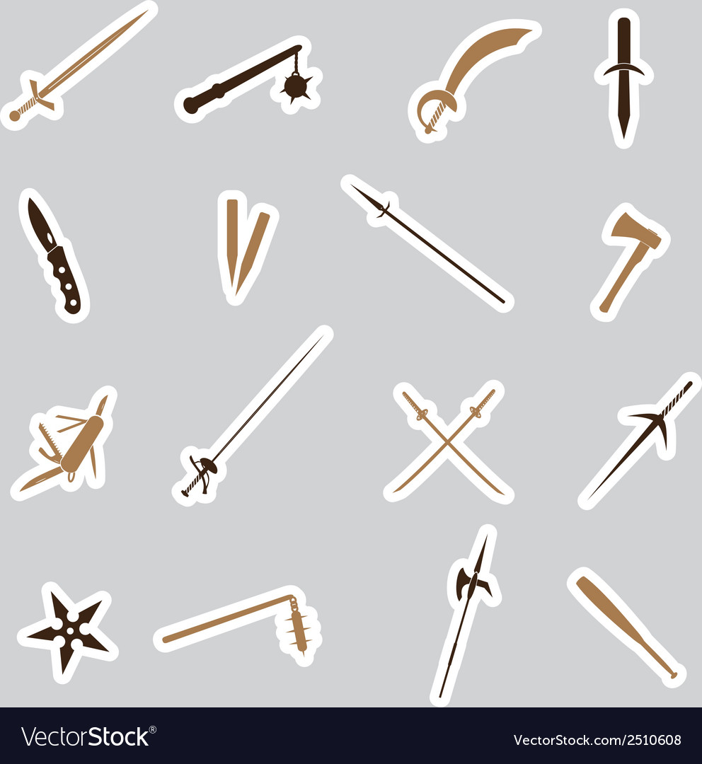 Cold steel weapons stickers eps10 vector | Price: 1 Credit (USD $1)