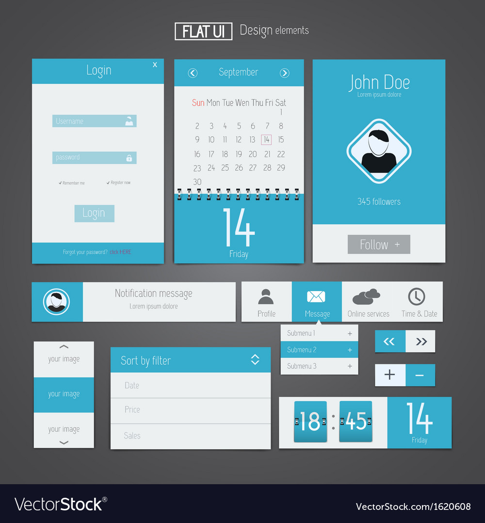 Flat web design elements 5 vector | Price: 1 Credit (USD $1)