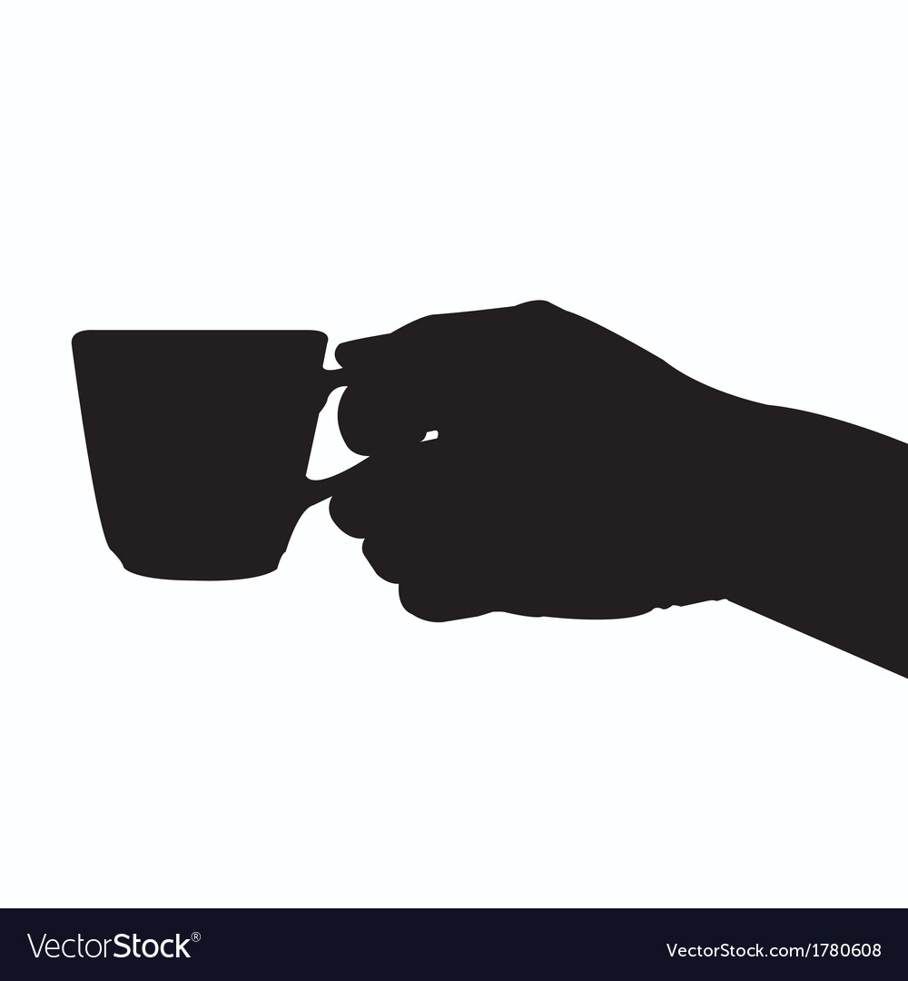 Hand holding coffee cup silhouette vector | Price: 1 Credit (USD $1)