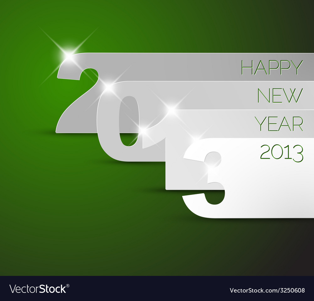 Happy new year 2013 green card vector | Price: 1 Credit (USD $1)