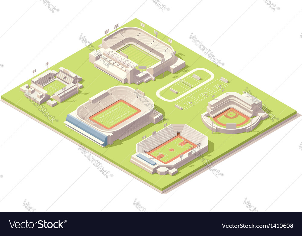 Isometric stadium buildings set vector | Price: 3 Credit (USD $3)