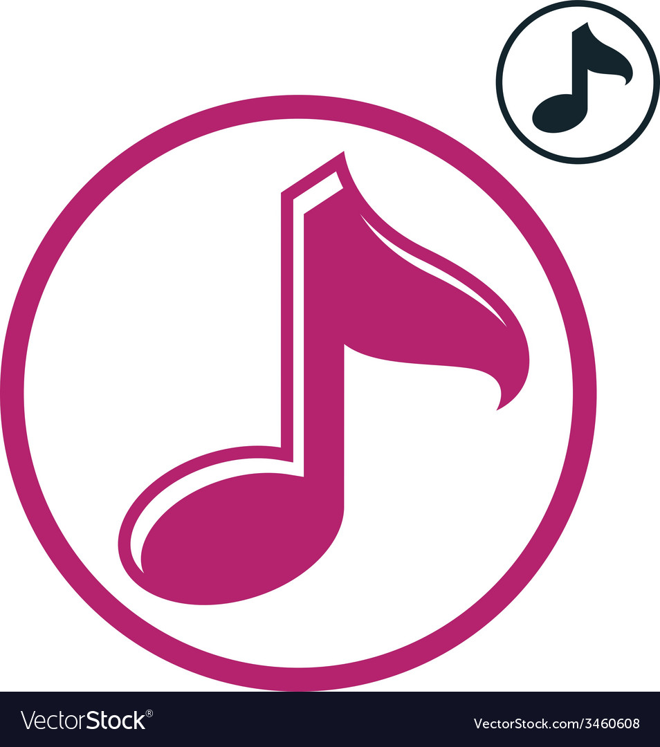 Music note icon isolated single color music theme vector | Price: 1 Credit (USD $1)