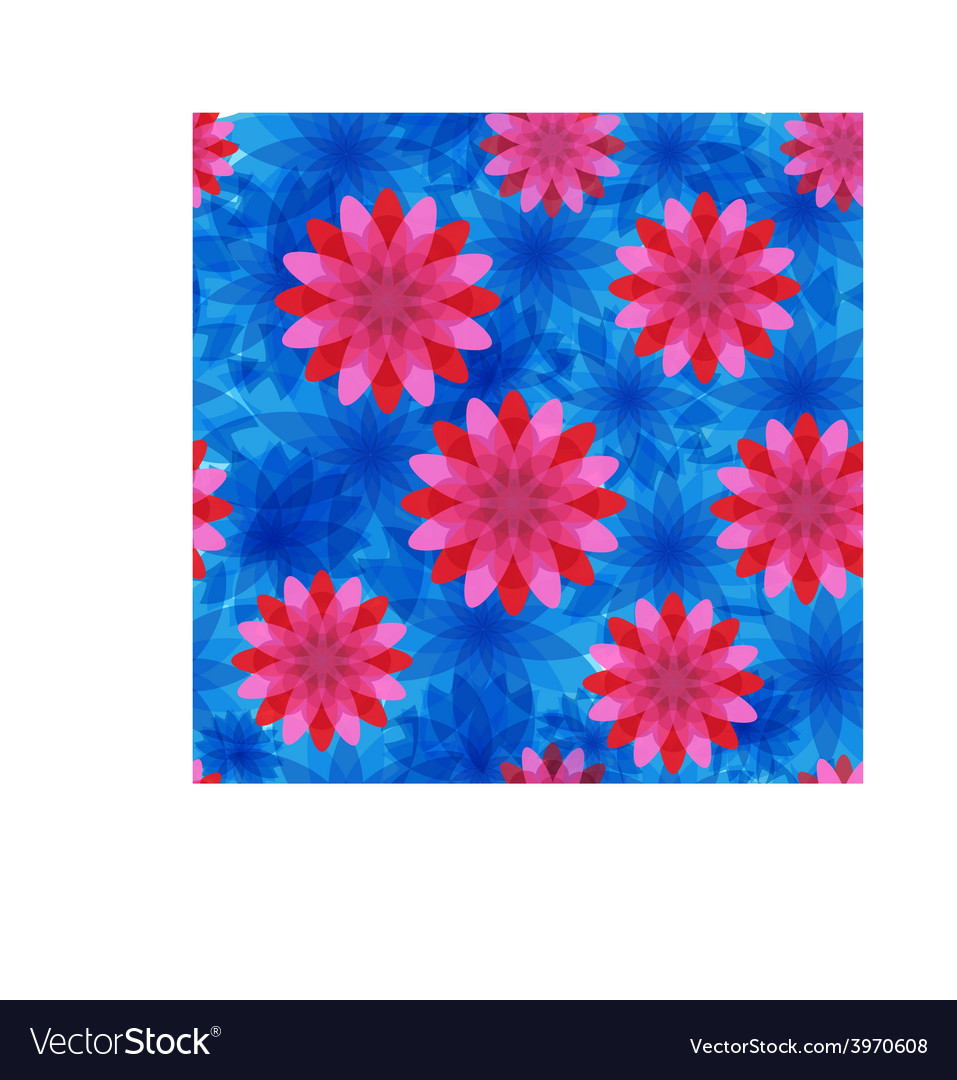 Red and blue flower seamless pattern vector | Price: 1 Credit (USD $1)