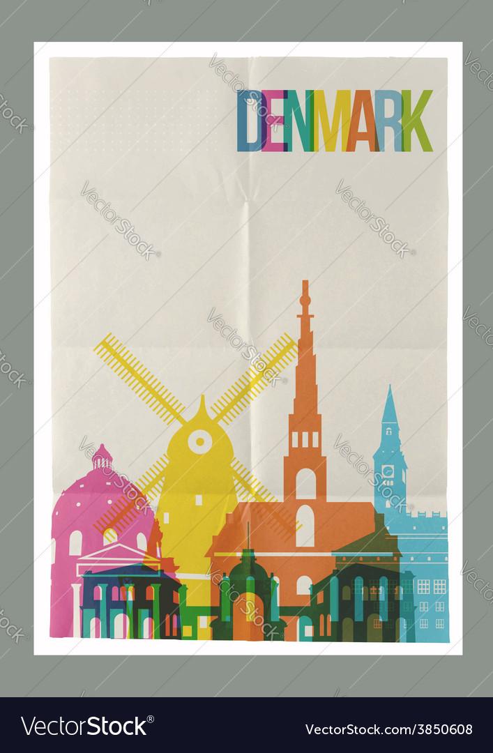 Travel denmark landmarks skyline vintage poster vector | Price: 1 Credit (USD $1)