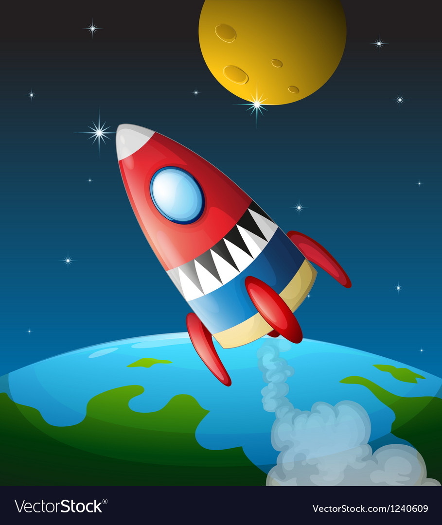 A spacecraft in the sky vector | Price: 1 Credit (USD $1)