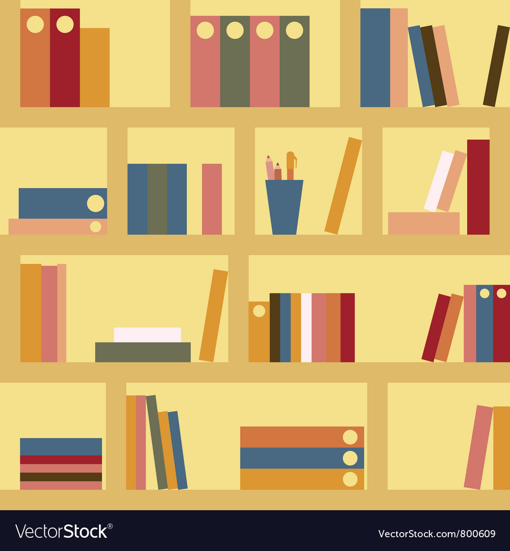 Bookshelf seamless background vector | Price: 1 Credit (USD $1)