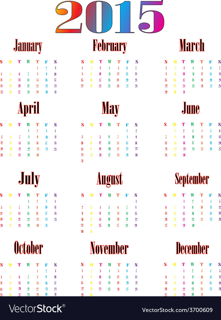 Colorful calendar for 2015 starts sunday 01 vector | Price: 1 Credit (USD $1)