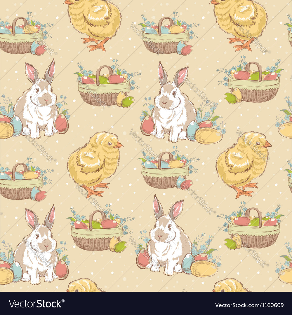 Easter vintage hand-drawn seamless pattern vector | Price: 1 Credit (USD $1)