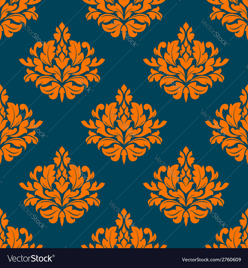 Floral seamless pattern with orange on indigo vector | Price: 1 Credit (USD $1)