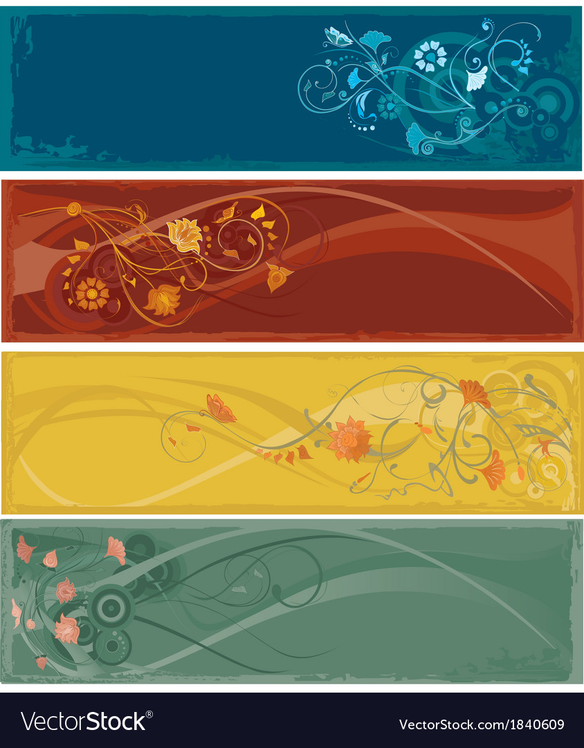 Flowers abstract banners vector | Price: 1 Credit (USD $1)