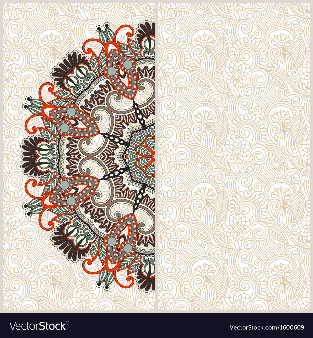 Ornate floral card with ornamental circle template vector | Price: 1 Credit (USD $1)