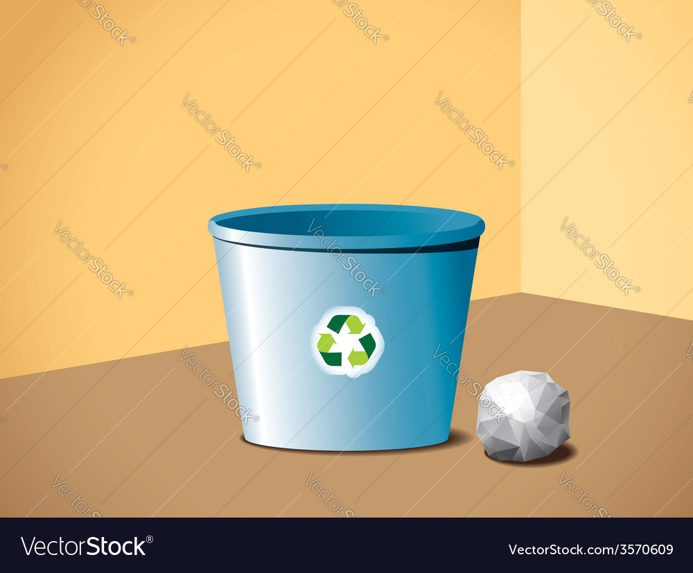 Paper ball near the recycle bin vector | Price: 1 Credit (USD $1)