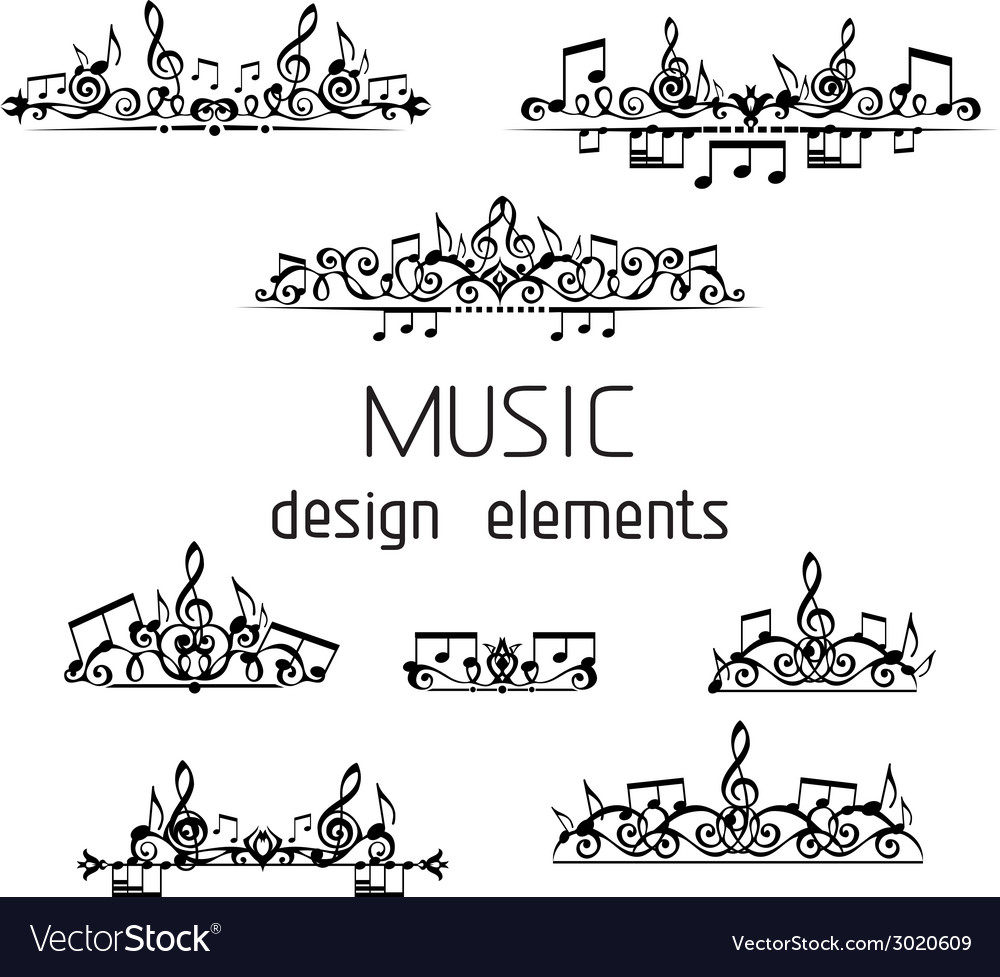 Set of music page decorations vector | Price: 1 Credit (USD $1)