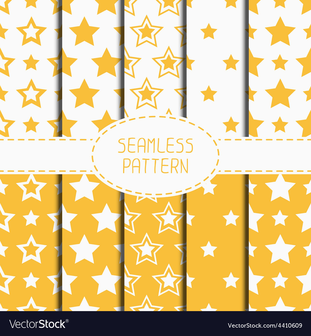 Set of yellow geometric seamless pattern with vector | Price: 1 Credit (USD $1)