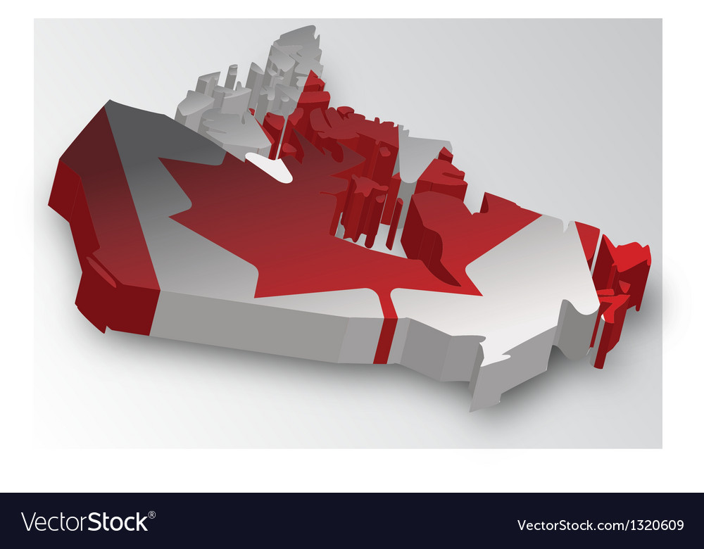 Three dimensional map of canada in flag colors vector | Price: 1 Credit (USD $1)