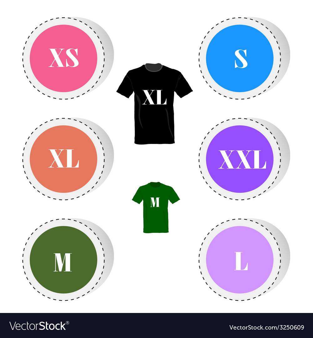 T-shirt and size color vector | Price: 1 Credit (USD $1)