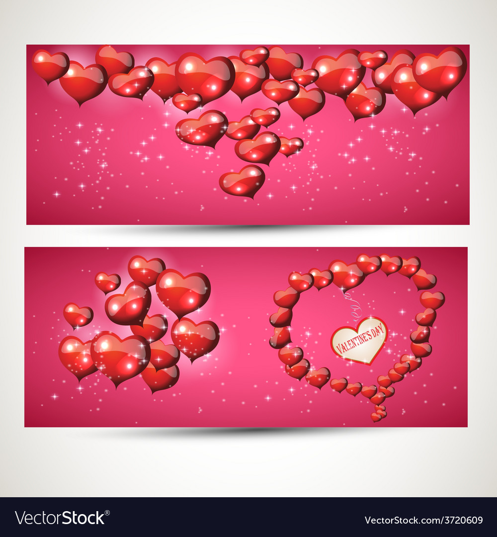 Vertical and horizontal flyers with hearts set 4 vector