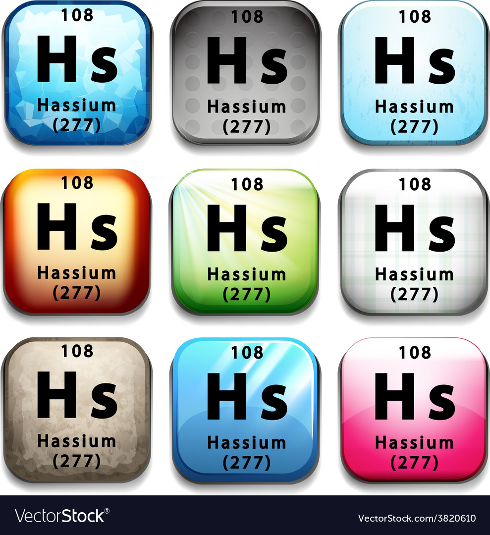 A button with the chemical hassium vector | Price: 1 Credit (USD $1)