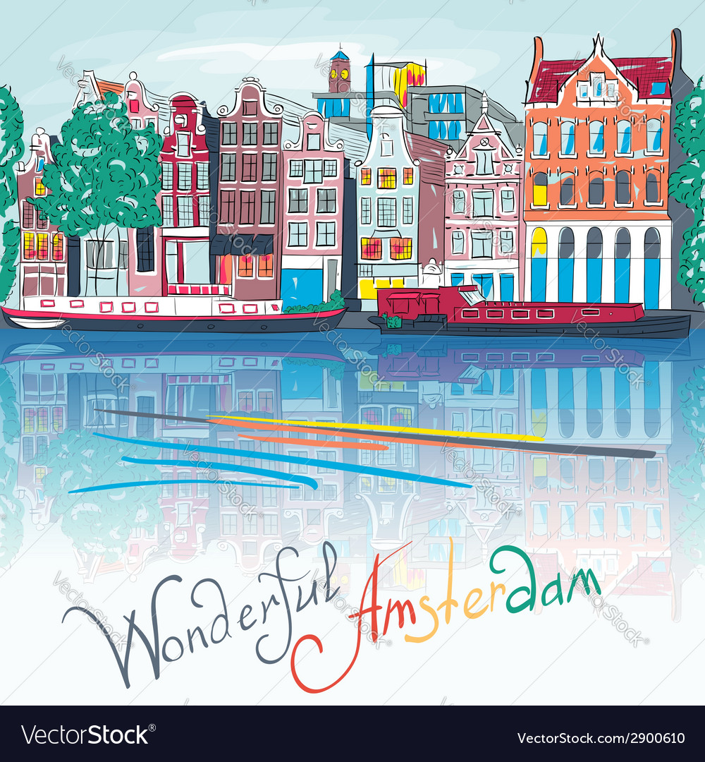 Amsterdam canal typical dutch houses and boats vector | Price: 1 Credit (USD $1)